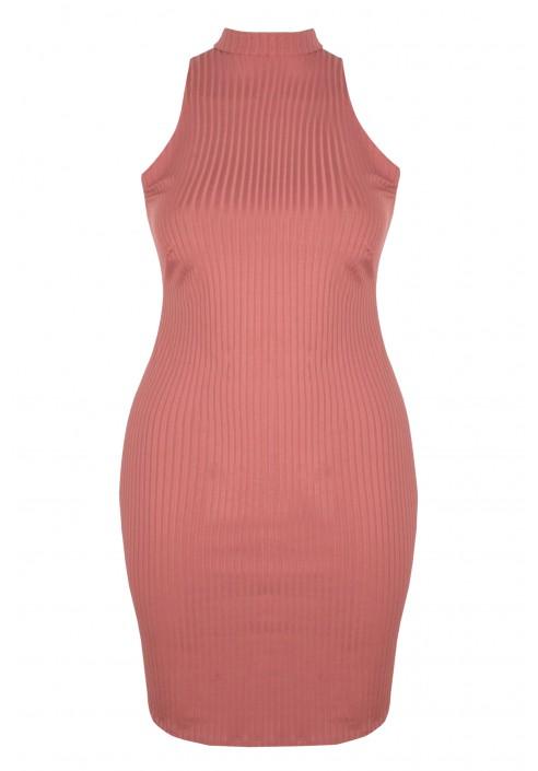 DENISE PINK mini sukienka plus size w prążki