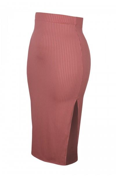 RAMONA PINK obcisła spódnica plus size w prążki