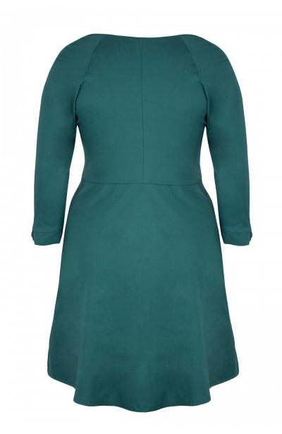 LOTTE EMERALD rozkloszowana sukienka plus size