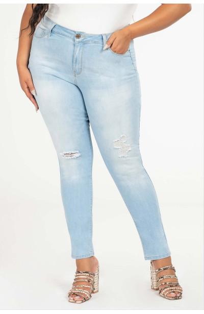 JOAN BLUE jasne jeansy plus size z dziurami