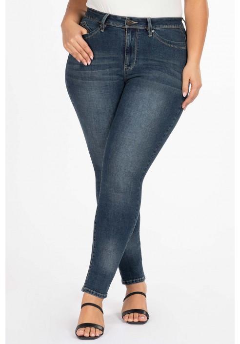 ABIGAIL NAVY obcisłe modelujące jeansy plus size