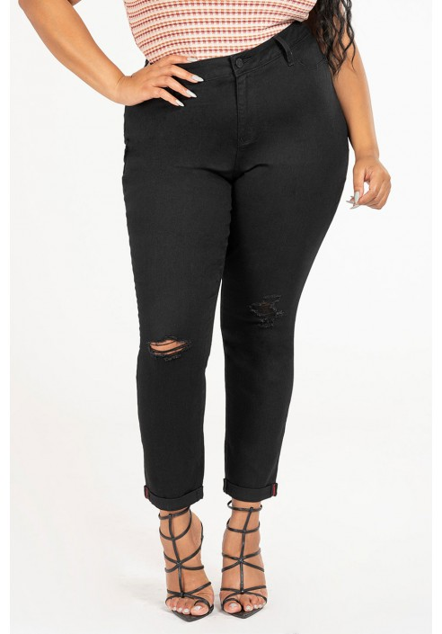 KRISTEN BLACK modne jeansy plus size z dziurami