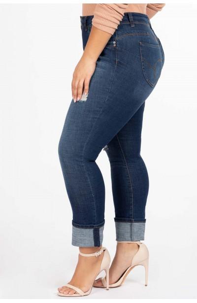 GERRY NAVY jeansy plus size z mankietem i dziurami