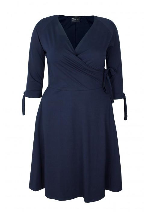 MIKA NAVY rozkloszowana sukienka plus size