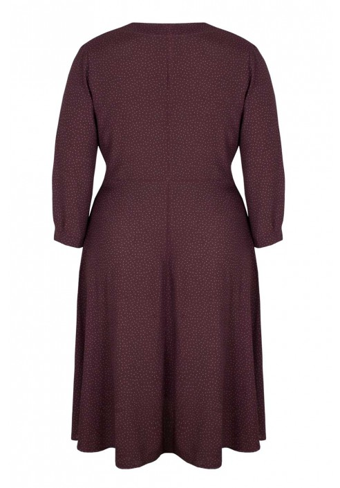 VANDA MARSALA sukienka plus size z groszki
