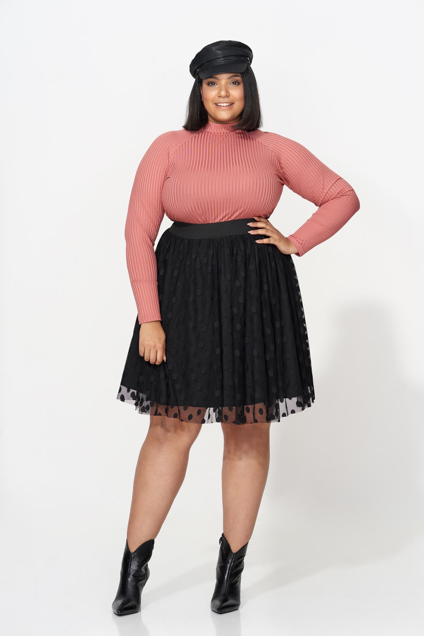 BETTA BLACK elegancka spódnica plus size z tiulem