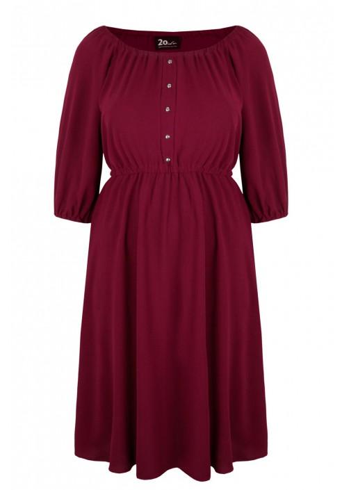 OFELIA WINE rozkloszowana sukienka plus size