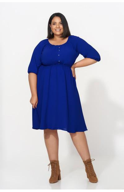 OFELIA BLUE rozkloszowana sukienka plus size