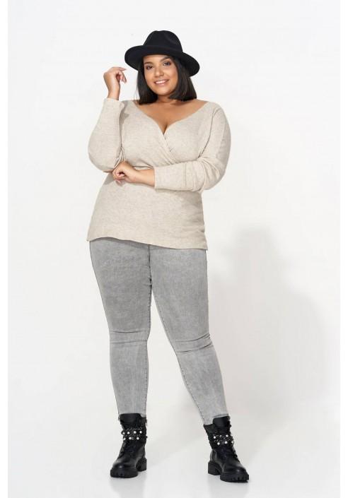 ROSELIA BEIGE wygodny sweter plus size