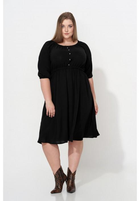 OFELIA BLACK rozkloszowana sukienka plus size