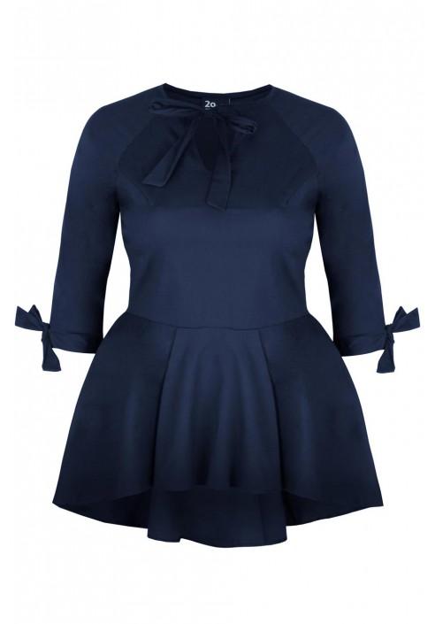 INES NAVY elegancka koszula plus size z baskinką