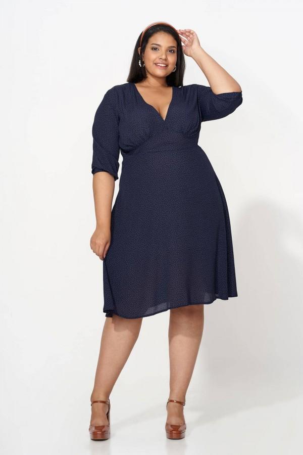 VANDA NAVY sukienka plus size w groszki