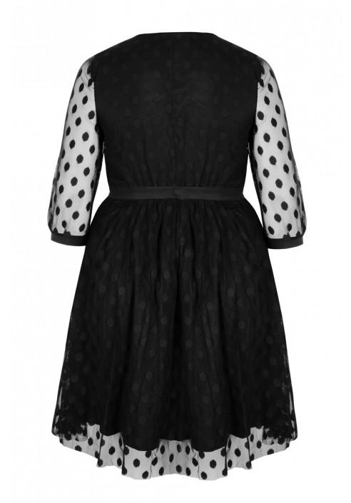 GATA BLACK elegancka sukienka plus size z tiulu