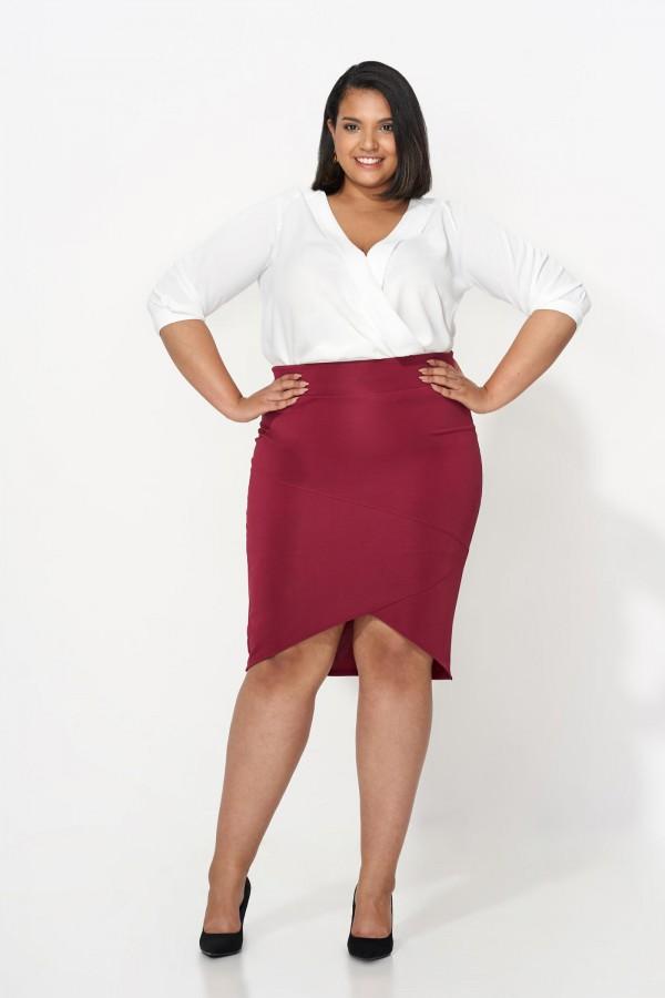 CATHIE MARSALA ołówkowa spódnica plus size