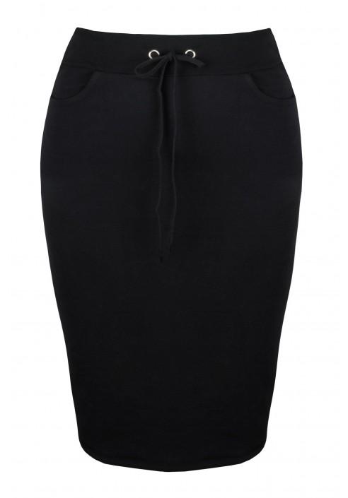 LAYLA BLACK wygodna spódnica plus size z wiązaniem