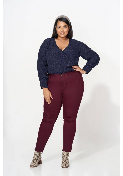 FABIENE NAVY eleganckie body plus size w groszki