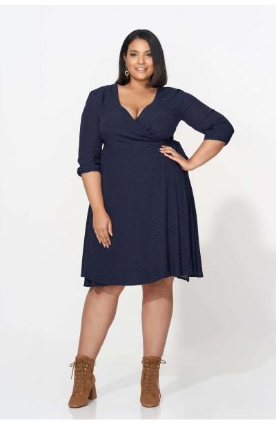 ALLISA NAVY wiązana sukienka plus size w groszki
