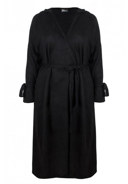 DORA BLACK długi sweter plus size z kapturem