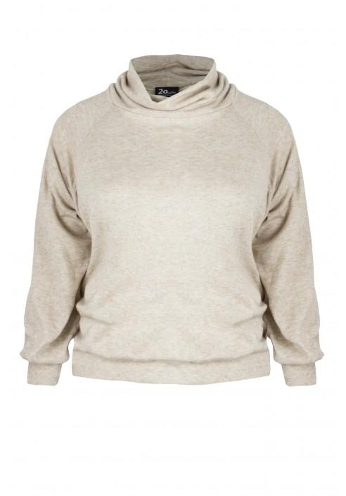KARI BEIGE modny sweter plus size z golfem