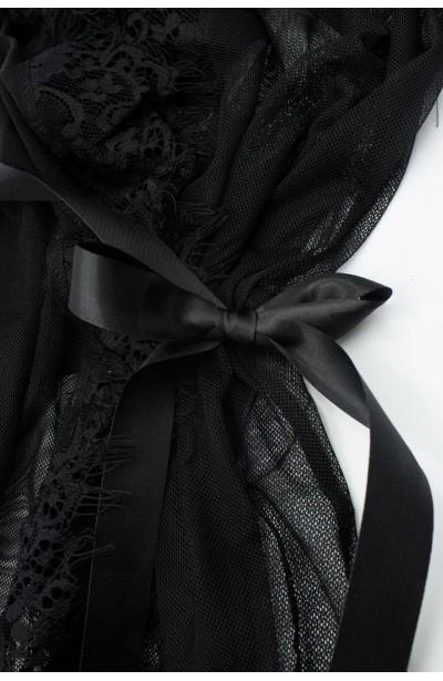 SHAZA BLACK seksowny tiulowy szlafrok plus size