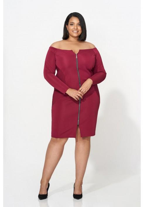 ARABELLA MARSALA zmysłowa sukienka plus size