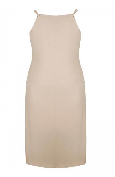 ALEGRA BEIGE elegancka sukienka plus size