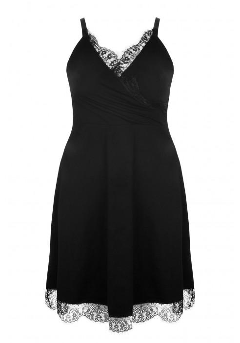 MUNA II BLACK koszula nocna z koronką