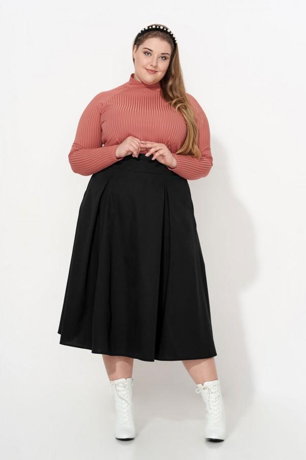 EDITH BLACK rozkloszowana spódnica plus size