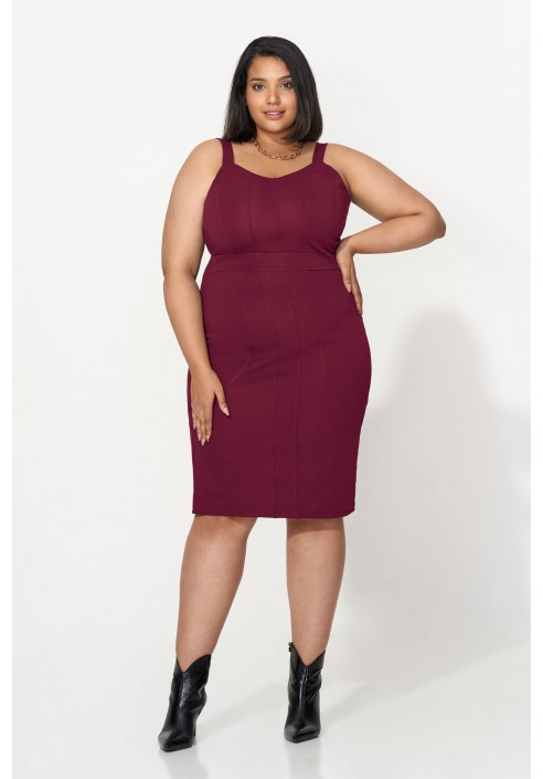 ALEXA MARSALA bandażowa sukienka plus size