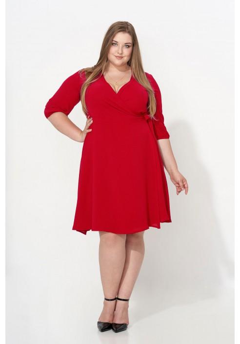 ALLISA RED kopertowa sukienka plus size