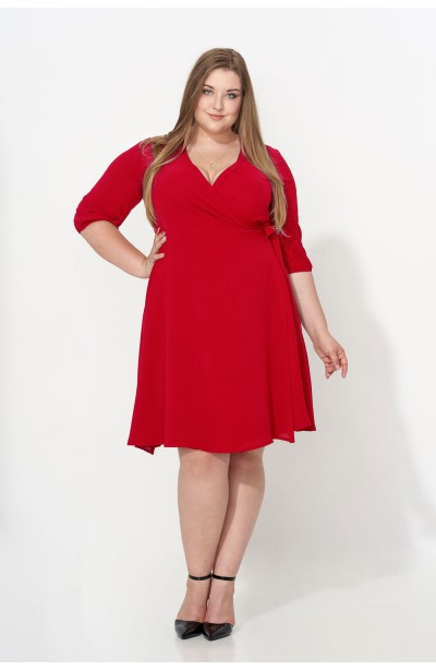 ALLISA RED kopertowa sukienka plus size