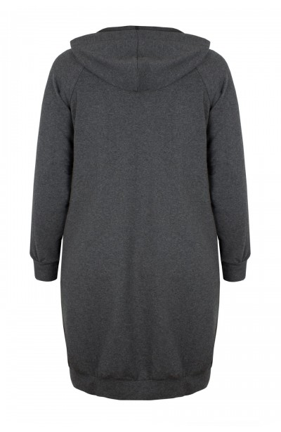 JOVITA GRAY długa bluza plus size z kapturem