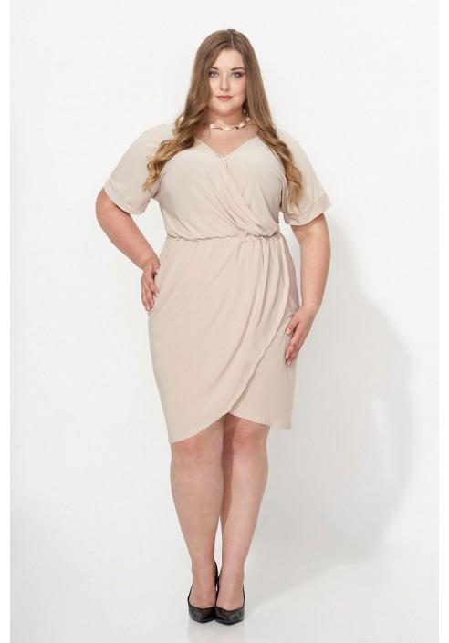 CHIARA BEIGE elegacnka sukienka plus size
