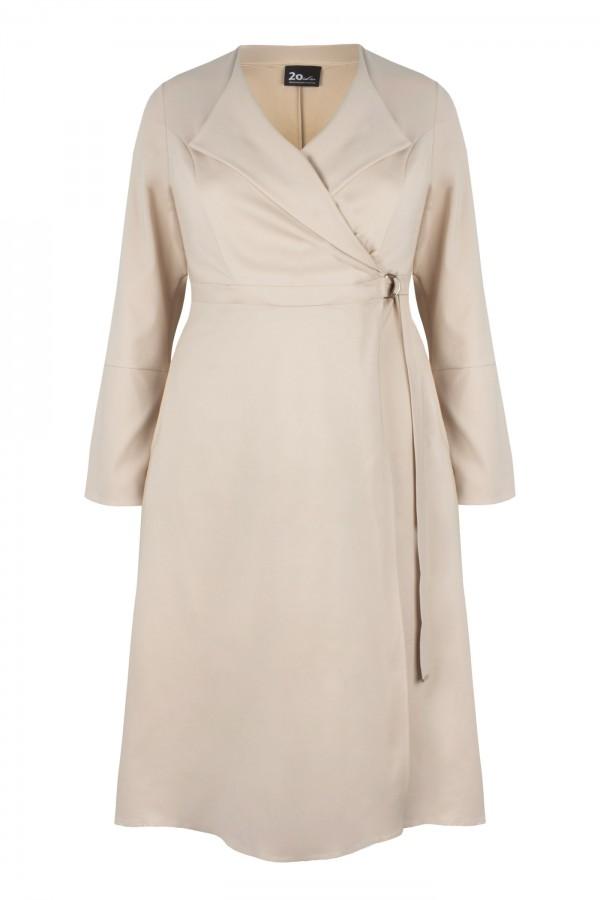 TRINITY BEIGE elegancki płaszcz plus size
