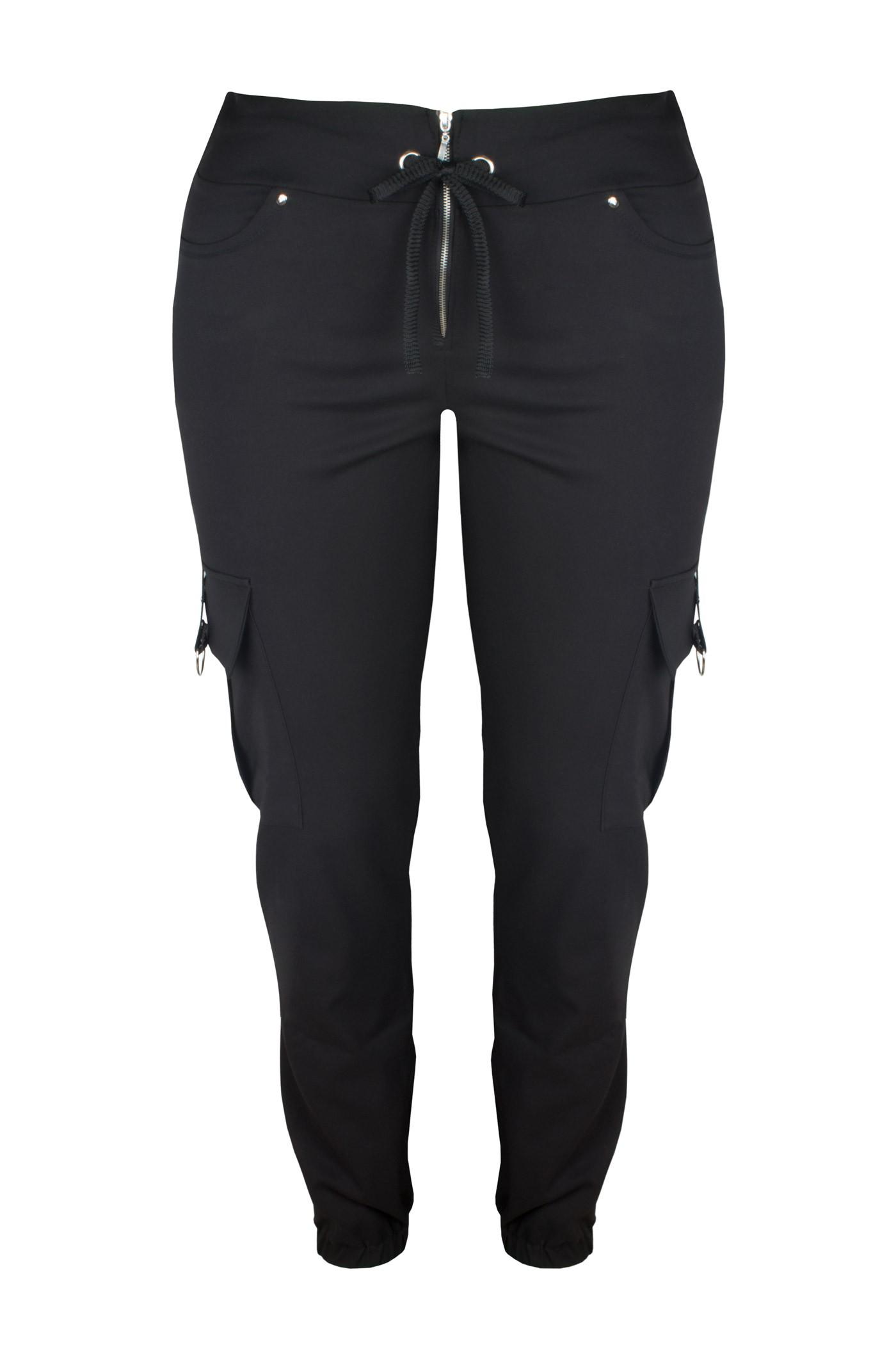 JET BLACK modne spodnie plus size typu cargo