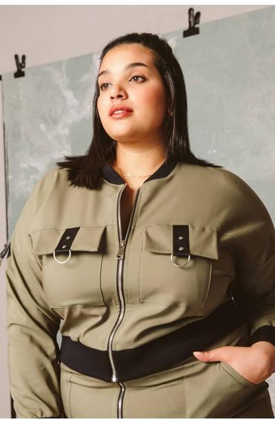 ASTER KHAKI modna bomberka plus size