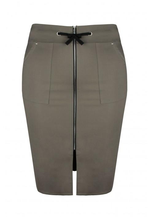 ELECTRA KHAKI ołówkowa spódnica plus size