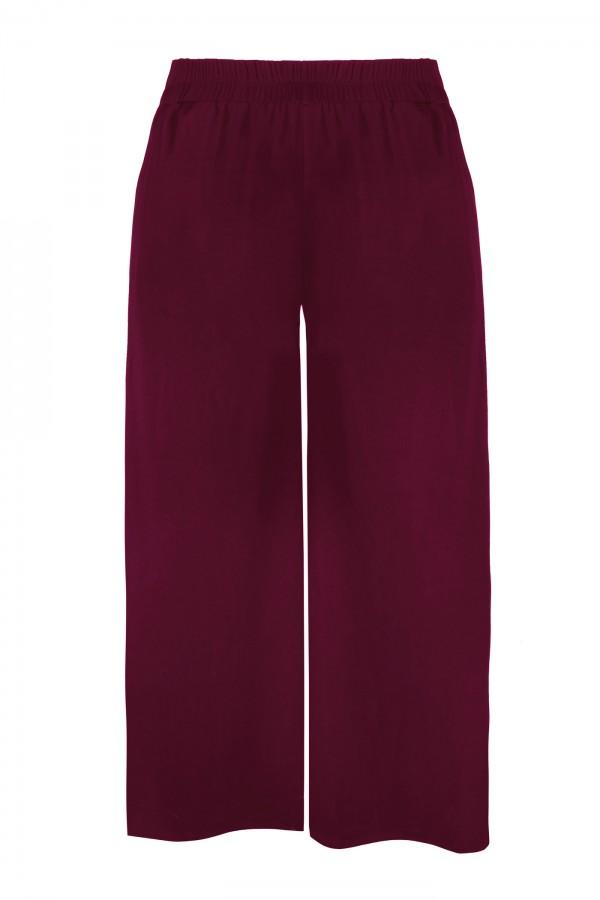 EVITA BURGUNDY SPODNIE szerokie spodnie plus size