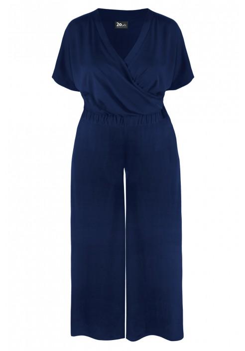 EVITA NAVY SPODNIE szerokie spodnie plus size