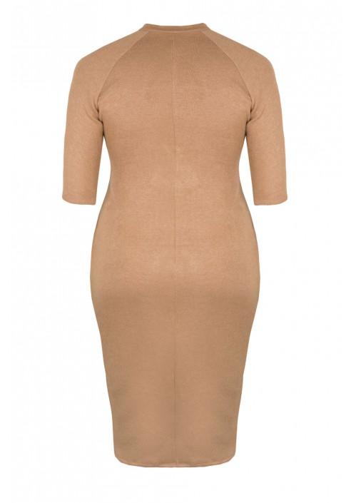 DARLA BEIGE swetrowa sukienka plus size