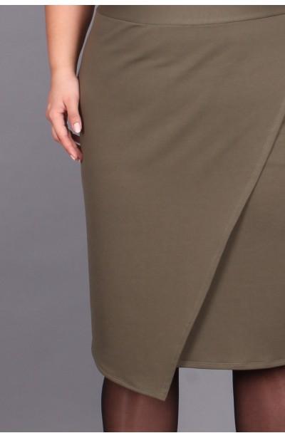 Spódnica z zakładkami, khaki