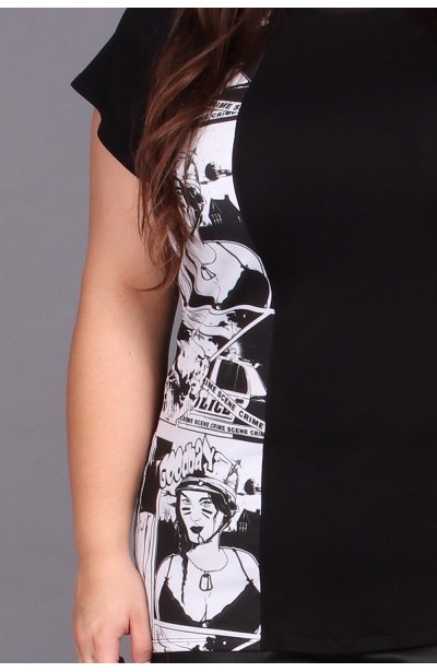 T-shirt czarny z komiksowym motywem