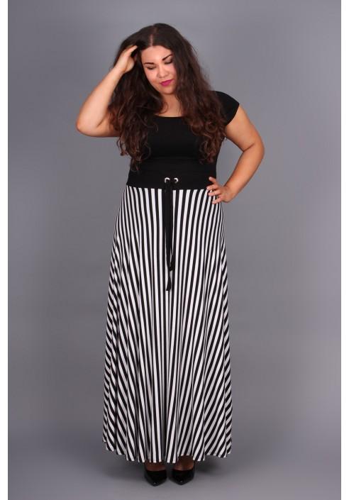 6158ded823982f Długa sukienka w paski na lato, duże rozmiary.