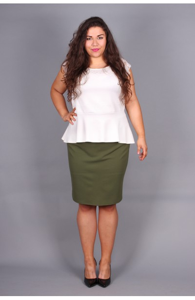 Elegancka bluzka z baskinką - ecru