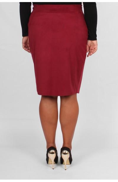 SLAY Spódnica zamszowa z zamkiem -bordo