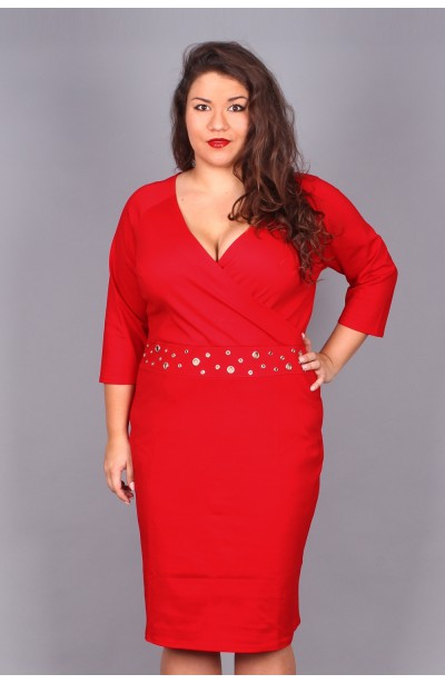 NIKI Sukienka z niklowanymi oczkami-czerwona