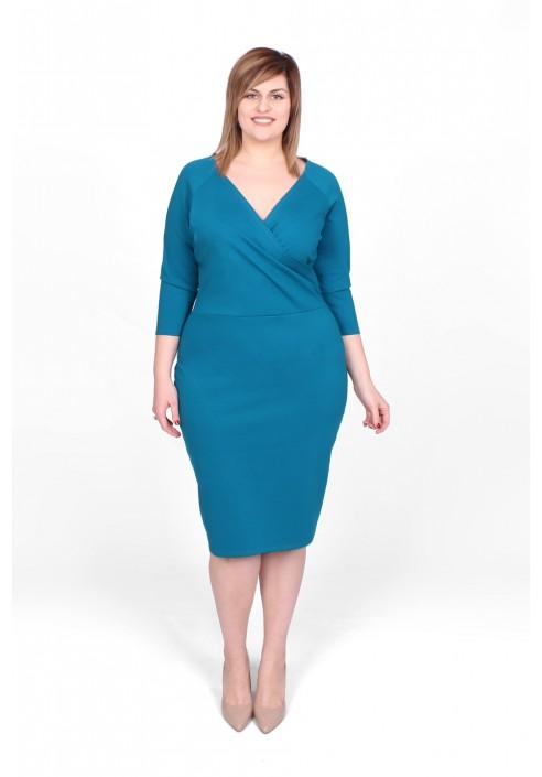 SIMPLE V - klasyczna turkusowa sukienka 42