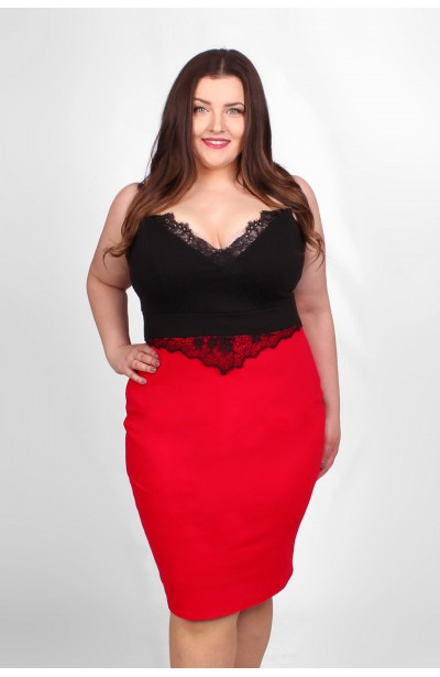 MARITA sukienka czerwono-czarna