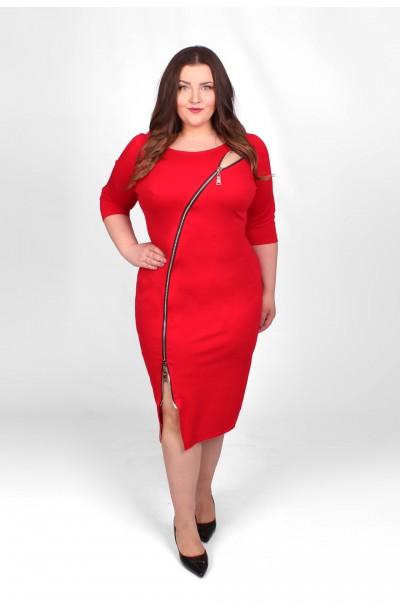 HONEY RED zmysłowa czerwona sukienka z zamkiem