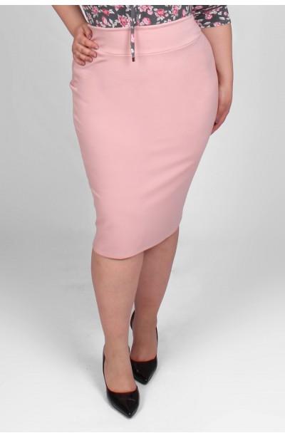 Ołówkowa spodnica z wysokim stanem - różowa